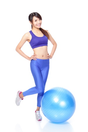 fit ball: Young beautiful Woman happy smile with fitness ball in full length isolated over white background, model is a asian girl