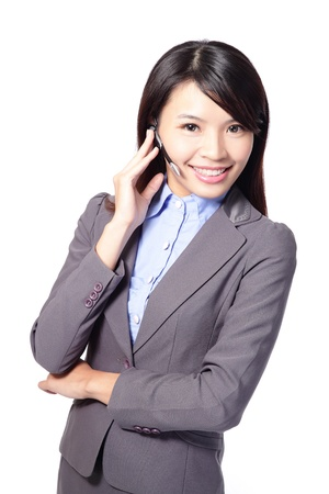 beautiful woman customer support operator with headset and smiling isolated on white background, asian woman