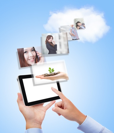 concept for business and cloud computing, Business man with tablet pc and the success in business on blue background photo