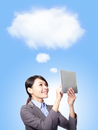 Cloud computing concept and business network. Businesswoman works with tablet pc, asian model photo
