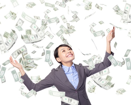 earning: Excited Business woman happy look up forward under a money rain - isolated over a white background