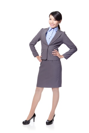 businesswoman suit: hermosa mujer de negocios sonriente longitud completa aislada sobre fondo blanco modelo, belleza asi�tica