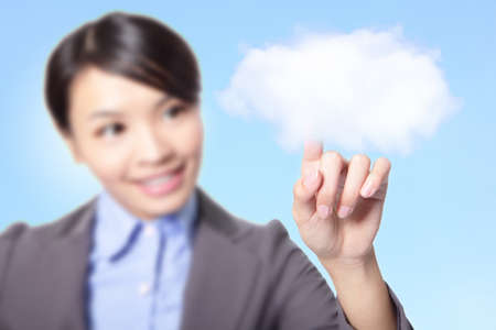 Beautiful Business woman finger touch cloud over blue background, concept for cloud computing, internet, model is a asian girl photo