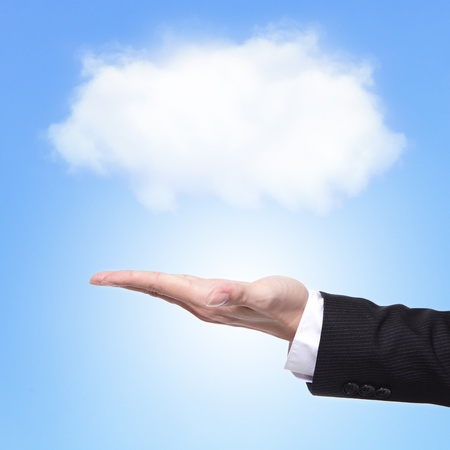 Cloud computing concept with copy space, business man hand palm holding cloud with blue sky background photo