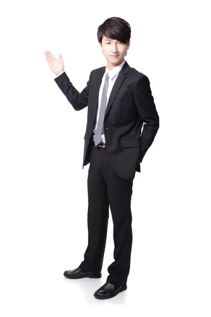 Young handsome Business man presenting in full length isolated over a white background, asian male model Stock Photo - 16949405