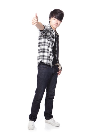 young man student show thumb up in full body isolated on white background, asian model photo