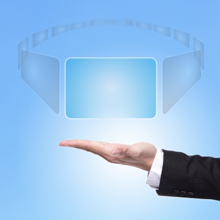 business Man hand choice the virtual screen button. great for your design , Choice concept Stock Photo - 17058000