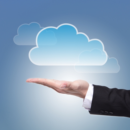 icloud: Cloud computing concept with copy space, business man hand palm holding cloud with blue sky background Stock Photo