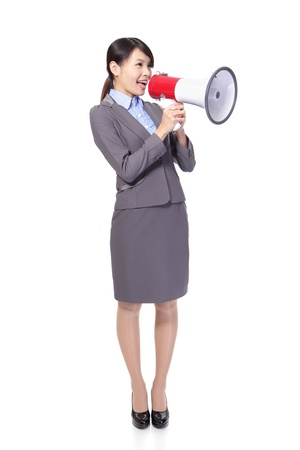 megaphone: Business woman with megaphone yelling and screaming isolated on white background, asian model