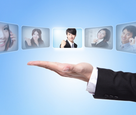 human resource: Human Resources concept: business man hand choosing perfect employees options by touch button screen