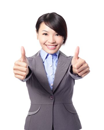 Happy smiling business woman with thumbs up gesture isolated on white background, asian beauty model photo