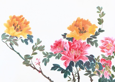 japanese painting: peony flower,Traditional chinese ink and wash painting. Stock Photo