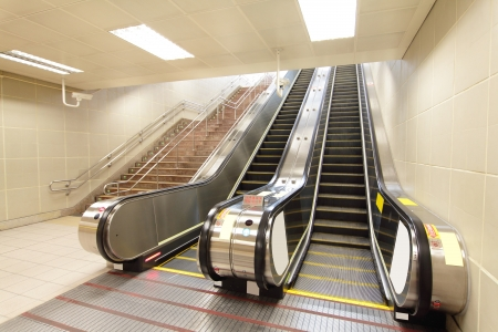 The escalator moving at a metro railway station,  shot in Taipei, Taiwan, asia Stock Photo - 17261911