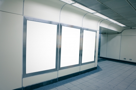 Blank billboard with copy space in subway metro station (blue tone) , shot in Taipei, Taiwan, asia Stock Photo - 17261913