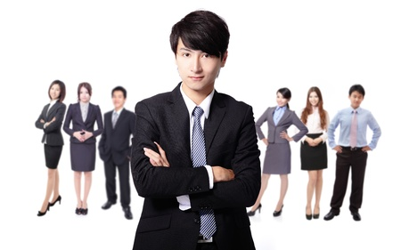 asian business team: Successful business man leading a business team isolated on white background, asian model Stock Photo