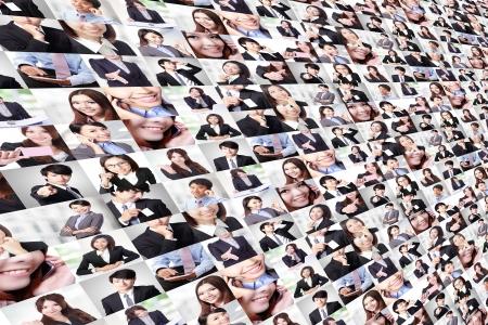 collage caras: Gran collage realizado por el grupo empresarial gente, gente asi�tica Foto de archivo