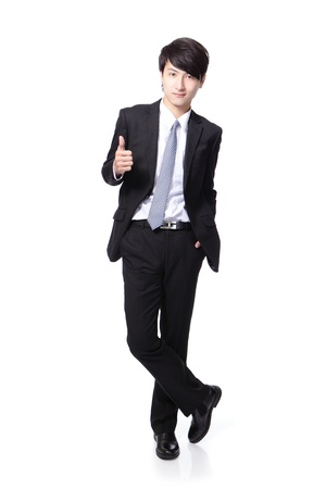 white body suit: young handsome business man show thumb up in full length isolated on white background, asian model Stock Photo