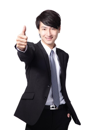 great job: happy young handsome business man show thumb up isolated on white background, asian model