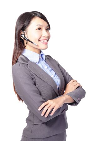 beautiful woman customer support operator with headset and smiling isolated on white background, asian woman Stock Photo - 17495767