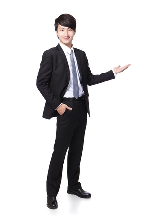 asian model: Young handsome Business man presenting in full length isolated over a white background, asian male model Stock Photo