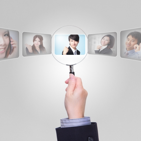 choose person: Human Resources concept - Job search and career choice employment with magnifying glass, asian model