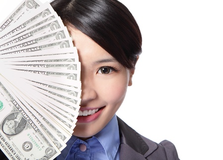 half face of a beautiful young business woman and money cover her face isolated on white background, asian beauty model photo
