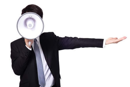 announcements: asian businessman using bullhorn  isolated on white background Stock Photo