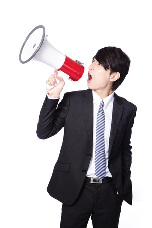 executive courses: asian businessman using bullhorn with energetic face
