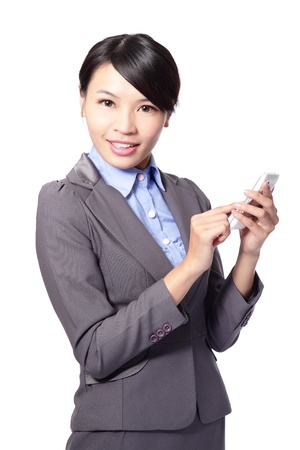 asian businesswoman using smart phone isolated on white background Stock Photo - 17849012
