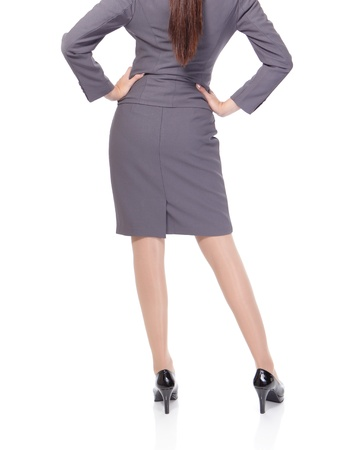leg of young woman in business attire isolated on a white background, asian model photo