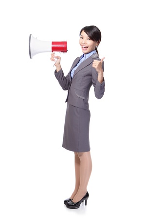 asian businesswoman holding megaphone ,thumbs up photo