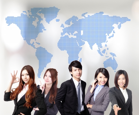 Asian business people teamwork together with global map photo