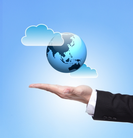 cloud computing concept: Global cloud computing concept , above hand Stock Photo
