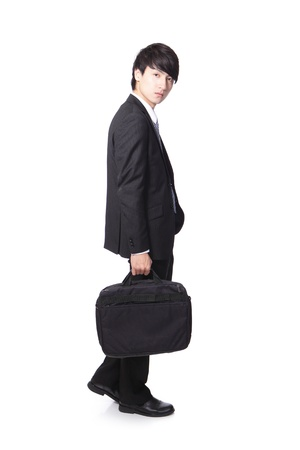 business man walking and holding briefcase, full body isolated on white background, asian man model photo