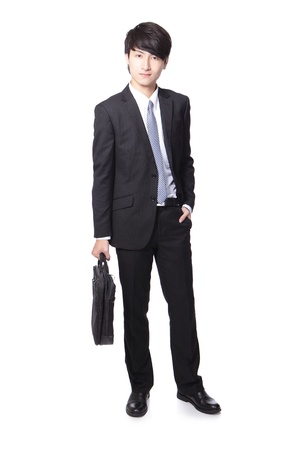 business man standing and holding briefcase, full body isolated on white background, asian man model  photo