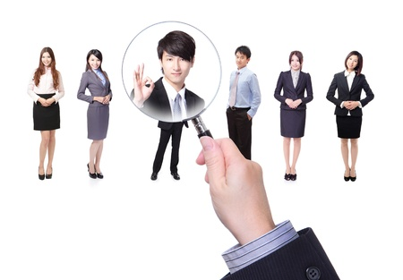Human resources concept choosing the perfect candidate for the job model, asian people Stock Photo - 18411669