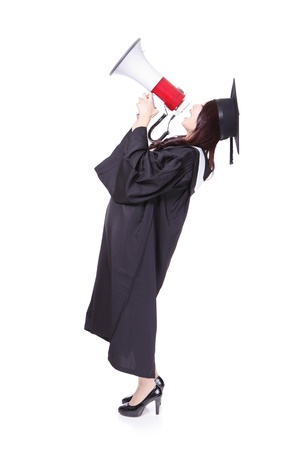 girl graduate student happy with megaphone, wear graduation cap and gown isolated on white background ,asian woman Stock Photo - 18690677