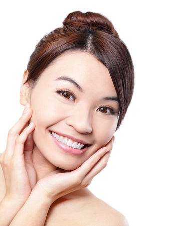 Smile happy Face of beautiful woman with health teeth and skin care isolated over white background  Beautiful young asian woman model photo
