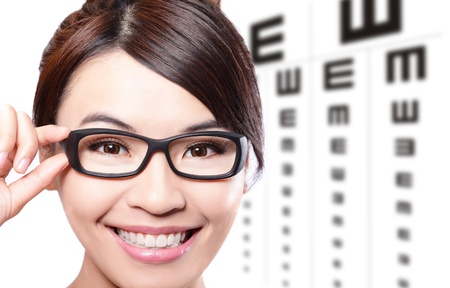 oculist: beautiful woman with glasses on the background of eye test chart, eye care concept, asian beauty