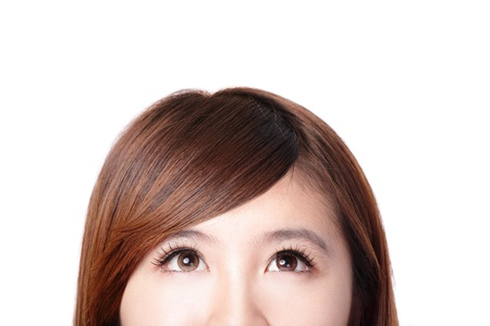 woman looking up: close up of woman smile face and she look to up forward empty copy space, isolated on white background, asian beauty