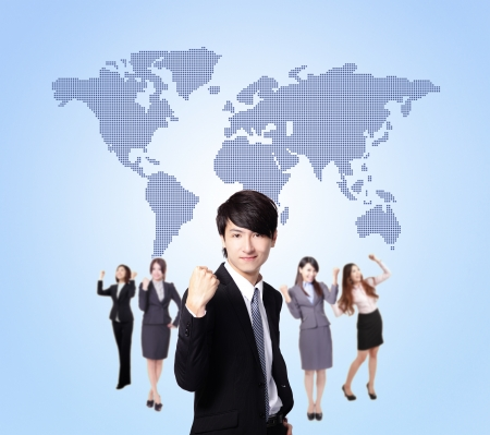 Business people stand confidently with global map, they make a fist, asian group photo