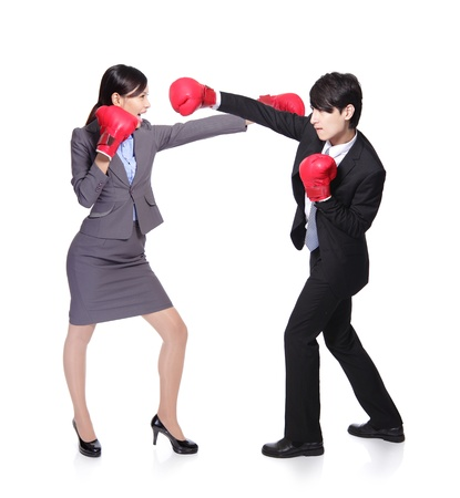 compete: Business  people  compete with a fight and boxing,asian people Stock Photo
