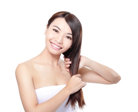 hair conditioner: Woman touch long straight  hair care and  smile face, asian woman