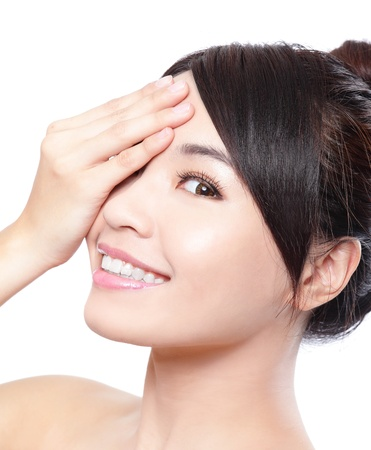 Beautiful woman smile face with clean face skin, and hand cover her eyes , concept for eye and skin care, isolated over white background, asian beauty Stock Photo - 19384784