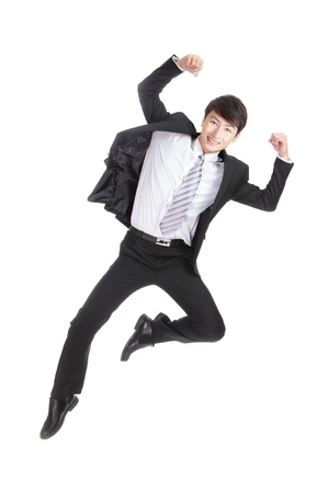 Business man jump  cheerful, asian man photo