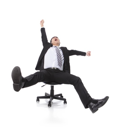 excited: Successful excited Business man sitting in chair, young businesspeople smile raised hands arms, Isolated over white background, asian people