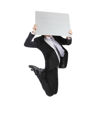business man running jumping and holding whiteboard (billboard) isolated on white background in full length, asian male photo