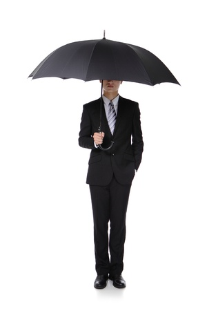 umbrella rain: Business Man with an umbrella , concept for business and save money, full length, isolated against white background, asian male model Stock Photo