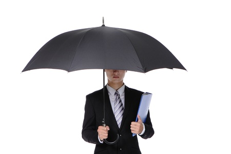 Business Man with an umbrella , concept for business and save money, isolated against white background, asian male model photo