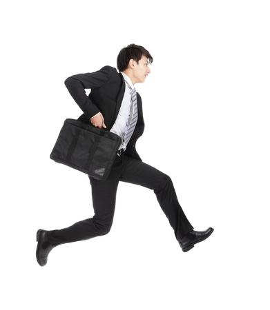 businessman running: business man running on isolated white background, full length, asian model